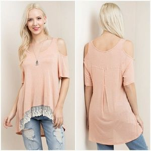 Cold Shoulder Lace Bottom Tee